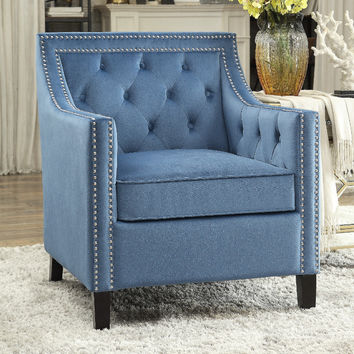 Home Elegance HE-1297BU Grazioso retro modern blue fabric accent chair nail head trim