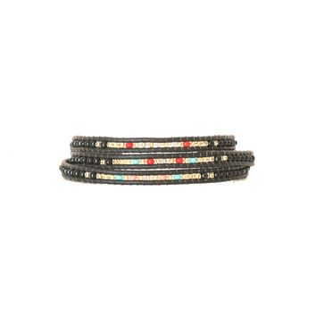 Nairobi Black Leather Wrap Bracelet