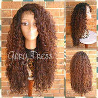ON SALE// Long Kinky Curly Lace Front Wig, Ombre wig, Curly Brown Wig, Beach Curls, Wig With Baby Hair // RESTORE ( Free Shipping )