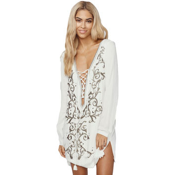 V Lace-Up Neck Floral Embroidered Beach Dress LAVELIQ