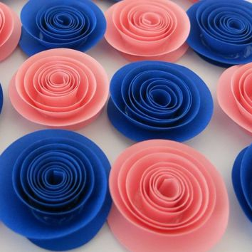 "Pink and Blue Gender Reveal baby shower flowers, set of 12, 1.5"" paper roses, boy or girl party theme, nursery wall decor, twin newborn art"