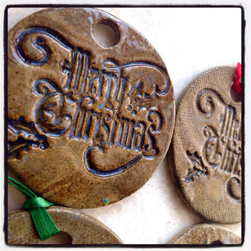 Set of 4 Merry Christmas Ornaments Handmade ceramic  stamped pottery christmas decoration gift Christmas tree decor Xmas gift tag religious