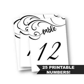 Table Numbers - Black and white swirly classic Printable 1-25 5x7 table numbers party black for wedding bridal sweet 16 birthday baby shower