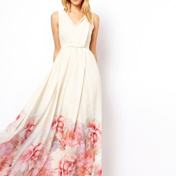 Mango Floral Hem Maxi Dress