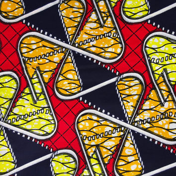 African wax Print  Fabric per yard, for African Print dress,African Clothing, Ankara fabric,abstract african pattern red blue african fabric