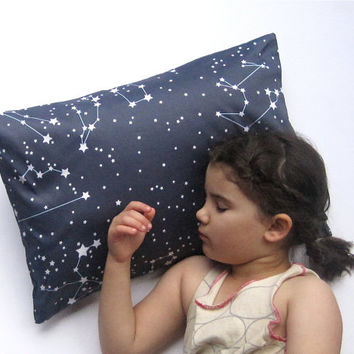 Goodnight Galaxy Pillow Sham Cover - Organic Toddler Pillow Cushion - Baby Home Decor in Dark Night Sky Blue - Eco friendly Bedroom Pillow
