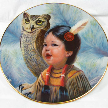 """Vintage GREGORY PERILLO 8"""" Art Plate """"Small and Wise"""" 1986"""