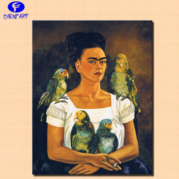 Me and my parrots 1941 By Frida Kahlo print  Wall painting Pop Wall Art Picture For Living Room