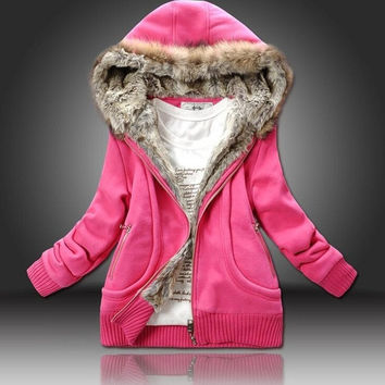 New 2014 Autumn and Winter Thickening Thermal Women Sportswear Cotton Sweatshirt Hat Fur Collar Outerwear Women Hoody Sportswear = 1827639364