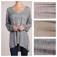 "In Style Oversized ""Lovely Lady"" Open Knit Long  Grey Sweater"