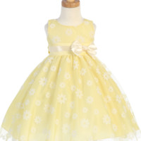 Floral Flocked Tulle on a Yellow Satin Dress with Ivory Trimmed Waist (Baby, Toddler & Girls Sizes)