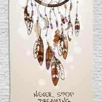 Native American Decor Dreamcatcher Feathers Design Digital Technology Graphic Print Never Stop Dreaming Tapestry Wall Hanging for Living Room Bedroom Dorm Decor, Beige Brown