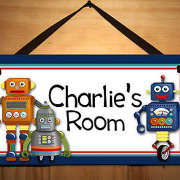 Kids Door Sign I am a Robot Boys Bedroom Nursery Personalized Name Sign DS0039