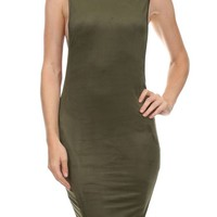 Sexy Solid Sleeveless Open-Side Bodycon Style Knit Suede Cocktail Mini Dress