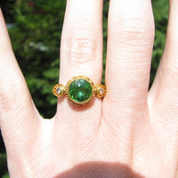 Stunning Vintage 18K and 22K Gold Ring - Large Green Tourmaline and DIamonds - Wonderful Detail - Very Substantial