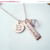 ON SALE Grandma Necklace . Rose Gold Name Necklace . Personalized Options, Pink Gold,  Hand stamped, Mothers, Gift
