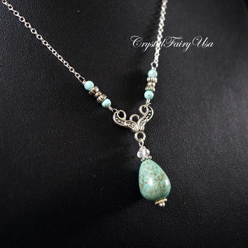 Teardrop Turquoise Necklace Sterling Silver Turquoise Lariat - Retro Artistic Design