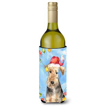 Christmas Lights Welsh Terrier Wine Bottle Beverage Insulator Hugger CK2498LITERK