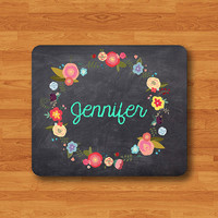 Personalized Mouse Pad Chalk Board With Floral Circle Flower Name Accessories Mousepad Gift For Him Her Office Desk Deco Christmas Gift New