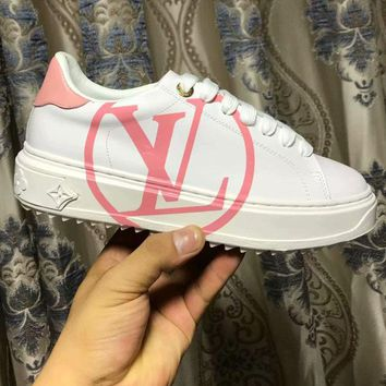 LV Women Shoes Louis Vuitton  Sports Shoes Coffee Print B-ALS-XZ Pink