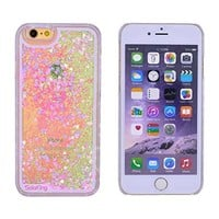 SolokingTM Creative Design Flowing Liquid Case Sparker Love Heart Bling Glitter Protective Shell for iphone 6 4.7 Inches (Sparker Love Heart Pink)