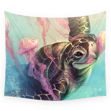 Society6 Sea Turtle And Jellyfish! Wall Tapestry