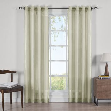 SPRING GREEN Abri Grommet Crushed Sheer Curtain Panels (Two Panels )