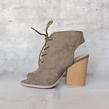 final sale - adventure lace-up peep toes suede bootie - khaki