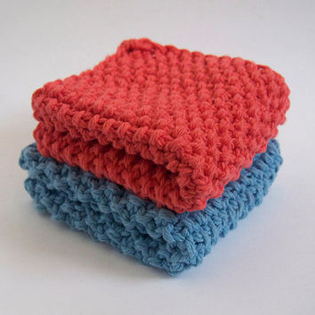 hand knit plushy cotton washcloth set in coral pink and light baby blue