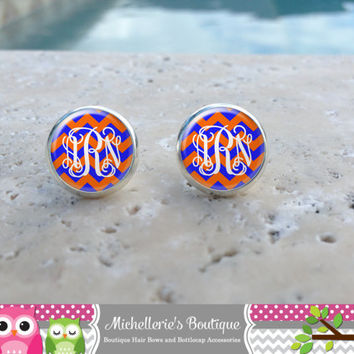 Blue & Orange Chevron  Monogram Earrings,Monogram Jewelry,Monogram Accessories,Monogram Studs,Monogram Leverbacks,Monogram Gifts