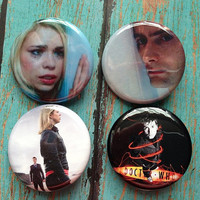 Doctor Who 10th Doctor David Tennant and Rose 4 Button Pinback Badge Set Plus Free Bonus Pin