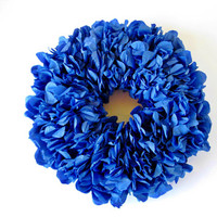 Blue Paper Wreath, Front Door Wreath, Blue Roses Wreath, Everyday Blue Wreath, Paper Home Decor, Classy Floral Ornament, Front Door Decor