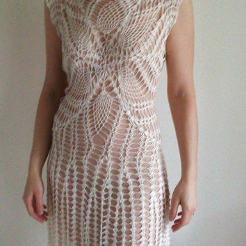 Lace Dress Cream Off White Crochet Romantic Wedding Gatsby Vintage Style