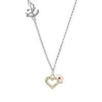 Small Gold Tone Crystal Heart with Nurse Hat Delicate Anchor Necklace