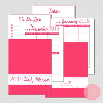 Printable Calendar - Pink 2015 Daily PDF Perpetual Planner with To Do List and Notes - Printable Planner - Digital File