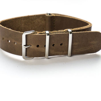 Leather NATO Strap Raw Umber