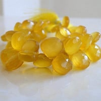 Yellow Chalcedony Briolette Gemstone Golden Sunny Faceted Heart Top Drilled 10mm 1/2 Strand Wholesale