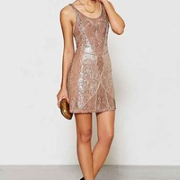 Ecote Beaded Mini Dress- Taupe