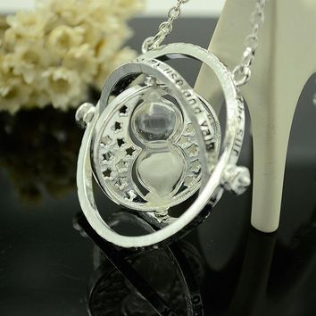 2017 Hot Sale Harry Potter Time Turner Necklace Hermione Granger Hour-Reversal Charm Rotating Spins Necklace Sliver Plated Only