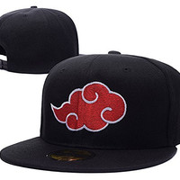 HAIHONG Naruto Akatsuki Cloud Logo Adjustable Snapback Caps Embroidery Hats - Black