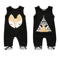 Cotton Newborn Infant Baby Boy Girl Sleeveless tent /  fox Romper Jumpsuit Clothes Outfits