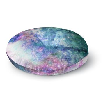 """83 Oranges """"Need More Space"""" Blue Green Digital Round Floor Pillow"""