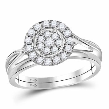 10kt White Gold Womens Round Diamond Cluster Bridal Wedding Engagement Ring Band Set 1/3 Cttw