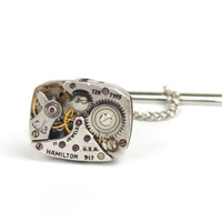 Silver Plated Antique Watch Movement Tie Pin