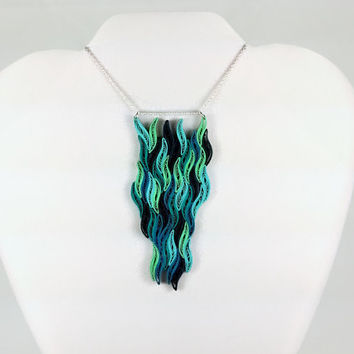 Waterfall Necklace Blue Statement Necklace - large pendant necklace, blue necklace, waterfall pendant, long pendant, paper quilling necklace