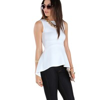 Sale- Cant Stop Wont Stop White Peplum