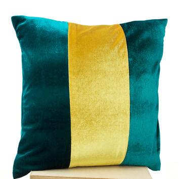 Teal Pillow- Applique Pillows color block -Velvet Pillows - Decorative cushion cover- Yelow Teal Throw pillow - gift - 20x20 - Couch pillows