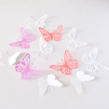3D Wall Art - Lilas Red White Paper Butterflies - Butterfly Wall Stickers - Butterfly Party Decoration - Butterfly Birthday Decor