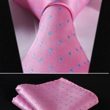 "Party Wedding Classic Pocket Square Tie TD1013K8S Pink Blue Polka Dot 3.4"" Silk Woven Men Tie Necktie Handkerchief Set"