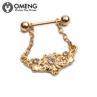 OMENG New Item Surgical Steel Crystal Nipple Ring Shields Bar Navel Ring Body Piercing Women Jewelry Sexy Jewelry OCC012